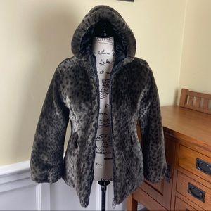 Hawke & Co Faux Fur Animal Print Jacket